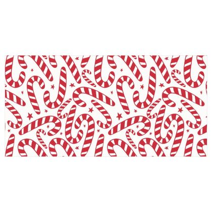 Starry Candy Cane Christmas Patter - White and Red