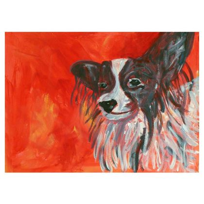 Red Papillon Dog Occasional Chair