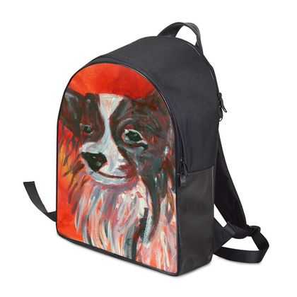 Red Papillon Dog Backpack