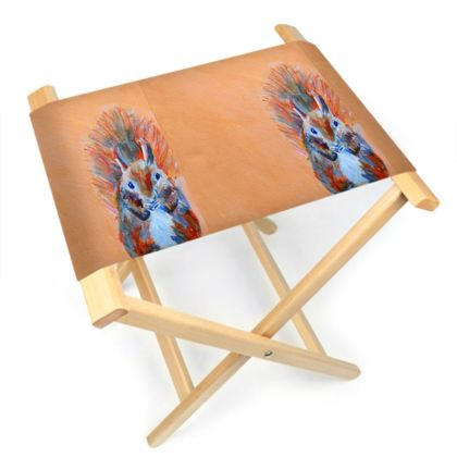 Red Squirrel Folding Stool Chair