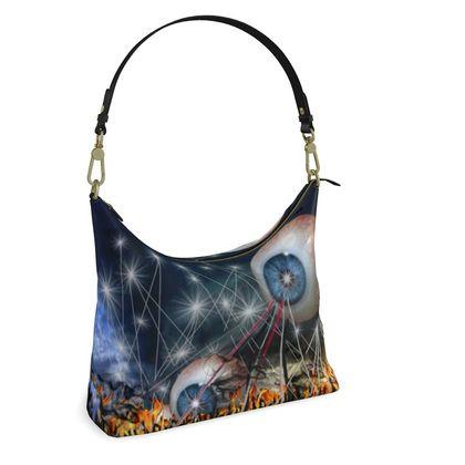 Square Hobo Bag -  Invaders - Surreal Art