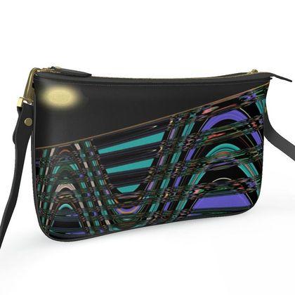 Pochette Double Zip Bag - Night Train Abstract Art