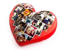 Cuscino cuore con collage regalo natale fidanzata