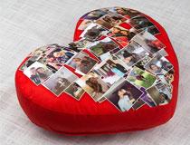 Cuscino cuore con foto collage