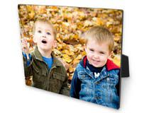Foto auf Holz Foto mit zwei Kindern