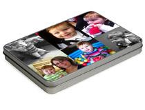 foto collage online su scatolina metallo