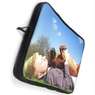 Laptop Tasche Mann mit Hund