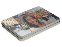 Photo Tin Box With Hinge Lid