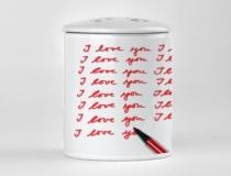 Portaspazzolini con dedica san valentino romantica