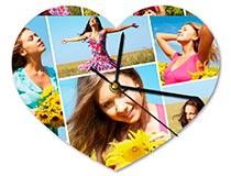 Reloj de pared personalizado en forma de corazon con collage