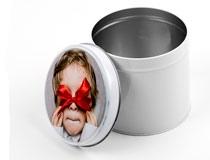 scatola piccola in latta rotonda personalizzata online