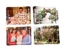 Tablett mit Fotos der Familie