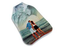 Waermflasche mit Foto eines Paares am Strand