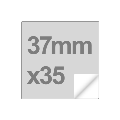 sticker size and shape - 37mm square, 35 per sheet