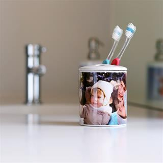 personalised toothbrush holder family photo