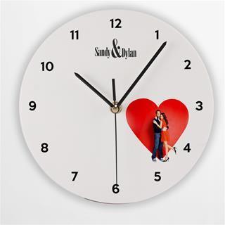 Custom Printed Round Clock heart