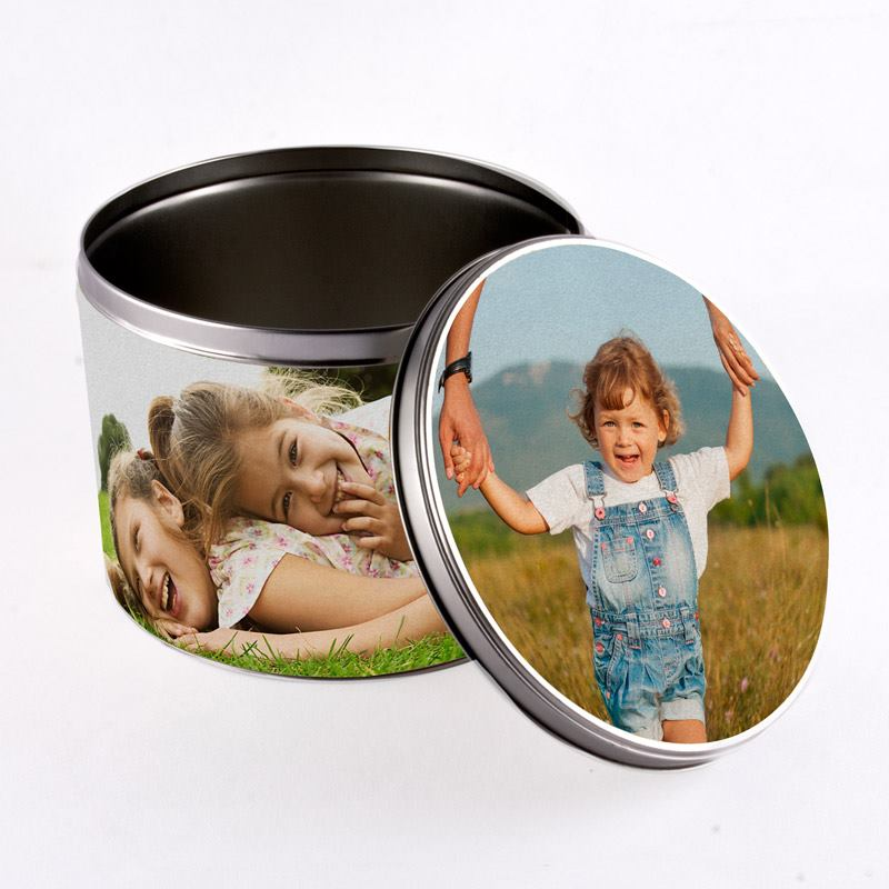 photo printed round tin
