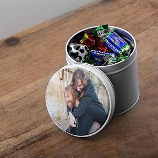 Small Round Photo Tin candies