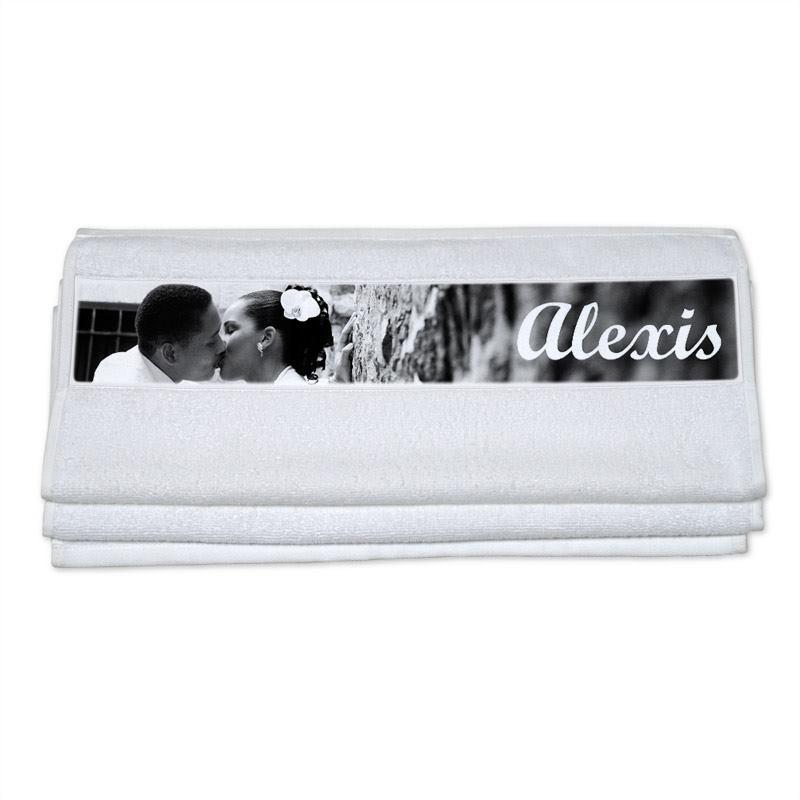 personalisiertes handtuch bedrucken lassen mit fotos text. Black Bedroom Furniture Sets. Home Design Ideas