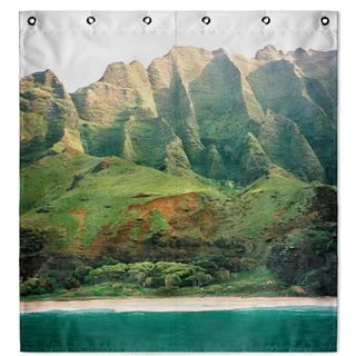 Mountain photo print shower curtain UK