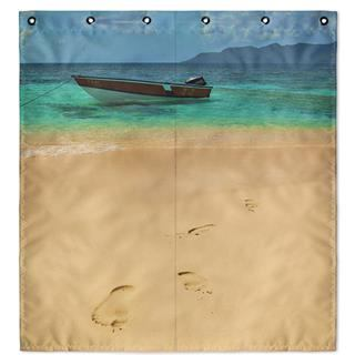 beach photo extra wide shower curtain UK