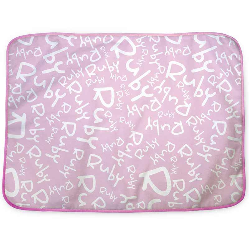 personalised changing mat pink