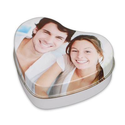Hjärtformad plåtburk med foto