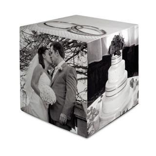 Cubo con fotos boda