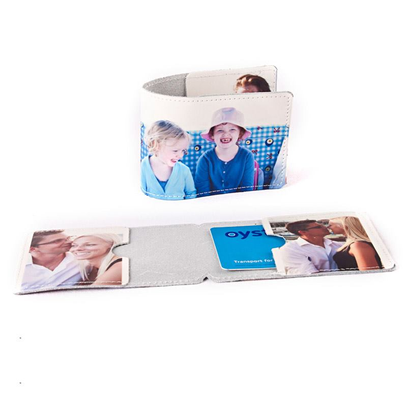 personalised leather card holder family photo