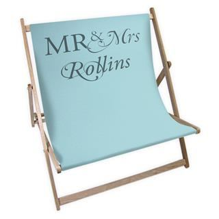 personalised photo deck chair with text