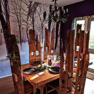 Print your own fabric wallpaper forest dining room