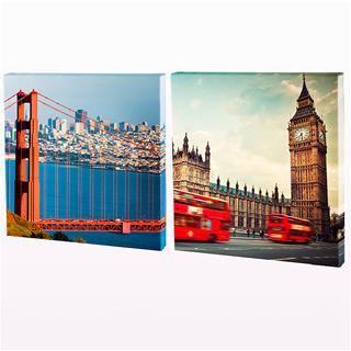 Foto lienzo diptico Londres y San Francisco