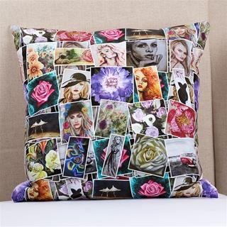cuscino da soggiorno personalizzato con collage di foto