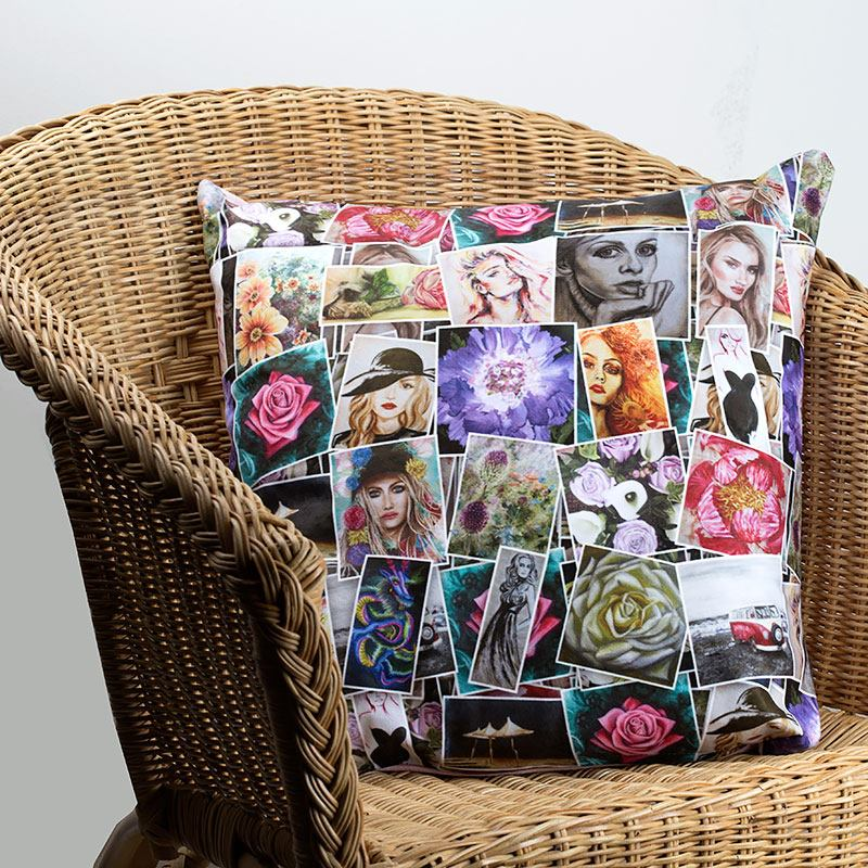 collage design printed cushions
