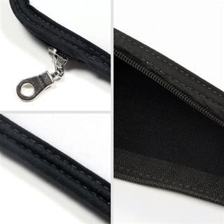 binding trim and zip details of personalised macbook case