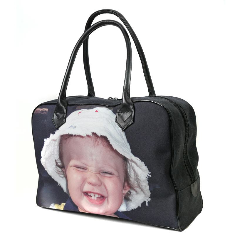 Personalised photo leather holdall bag