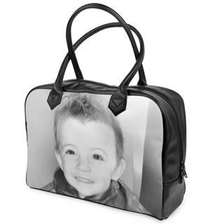 leather holdall black and white personalised photo gift