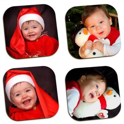 Glasunderlägg med egna foton jul