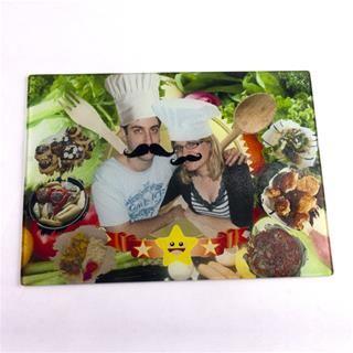 Glazen snijplank bedrukt met jouw foto 39 s en tekst - Gepersonaliseerde keuken ...
