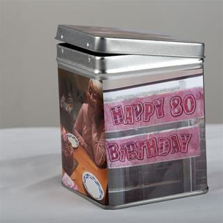 Personalised tea tin for birthdays