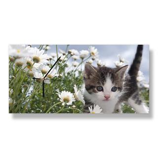 Reloj de pared personalizado rectangular con gatito