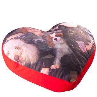 pouf cuscino cuore personalizzato con foto cani