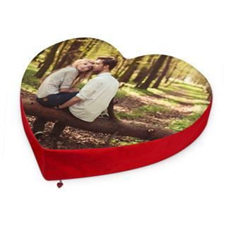 unique photo heart cushion printed with couple taking a walk in woodlands