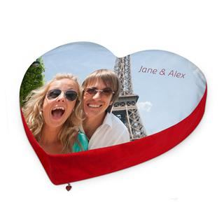 heart shaped personalised cushions printed with fun couple photo in Paris in front of Eiffel Tower