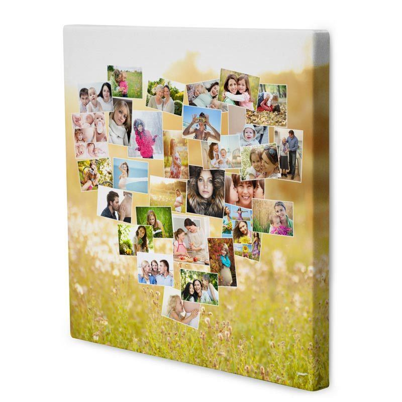 heart shaped collage canvas
