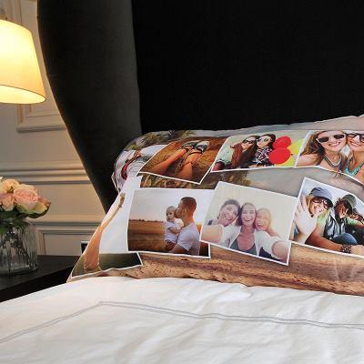 fundas de almohada con fotomontaje