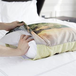 Coussin dans taie d'oreiller imprimée
