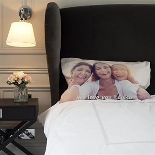 Photo de vacances imprimée sur taie d'oreiller