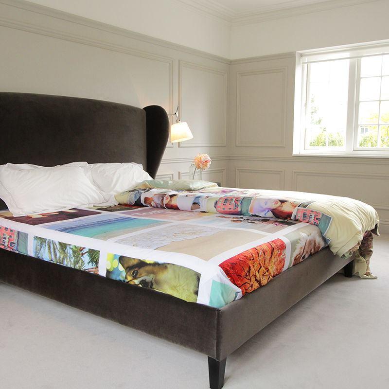 drap personnalis vos photos sur une parure de lit personnalisable. Black Bedroom Furniture Sets. Home Design Ideas