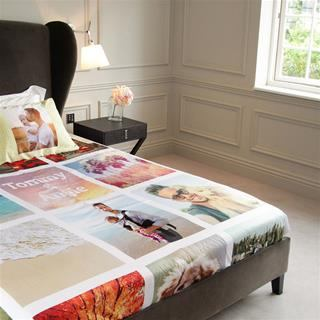 bed sheet photo collage